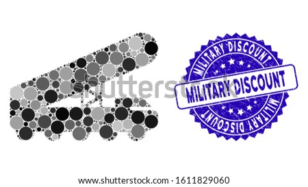 Mosaic nuclear rocket launcher icon and grunge stamp seal with Military Discount text. Mosaic vector is created from nuclear rocket launcher icon and with scattered round items.