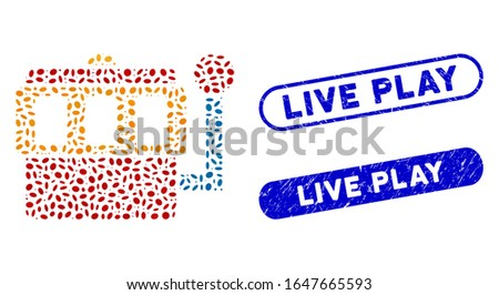 Mosaic one-armed bandit and corroded stamp seals with Live Play caption. Mosaic vector one-armed bandit is designed with randomized elliptic elements. Live Play stamp seals use blue color,