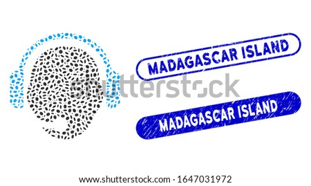 Mosaic operator head and corroded stamp seals with Madagascar Island text. Mosaic vector operator head is formed with random elliptic pieces. Madagascar Island stamp seals use blue color,