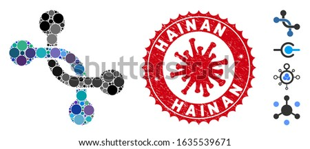 Mosaic overpass connection icon and red round rubber stamp seal with Hainan text and coronavirus symbol. Mosaic vector is formed with overpass connection pictogram and with random round elements.