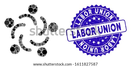 Mosaic people unity icon and corroded stamp seal with Labor Union caption. Mosaic vector is composed with people unity icon and with scattered round elements. Labor Union stamp seal uses blue color,