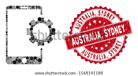 Mosaic phone setup gear and distressed stamp seal with Australia, Sydney phrase. Mosaic vector is composed with phone setup gear icon and with scattered round spots. Australia,