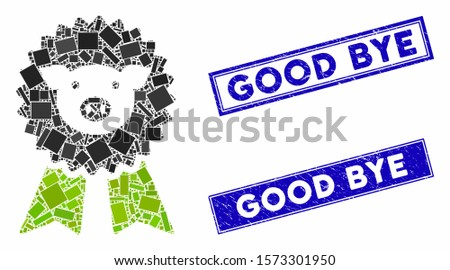 Mosaic pig award seal pictogram and rectangle Good Bye rubber prints. Flat vector pig award seal mosaic pictogram of randomized rotated rectangle items.