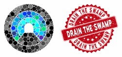 Mosaic pipe tunnel and distressed stamp seal with Drain the Swamp phrase. Mosaic vector is created with pipe tunnel icon and with randomized spheric items. Drain the Swamp stamp seal uses red color,