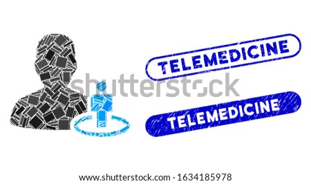 Mosaic portal moderator and rubber stamp seals with Telemedicine caption. Mosaic vector portal moderator is created with randomized rectangle items. Telemedicine seals use blue color,
