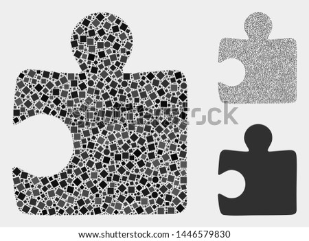 Mosaic Puzzle item icon organized from round and square items in variable sizes, positions and proportions. Vector round and square items are arranged into abstract composition puzzle item icons.