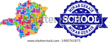 Mosaic puzzle map of Minas Gerais State and rubber school seal stamp with ribbon. Vector map of Minas Gerais State constructed with colorful square and corner blocks.