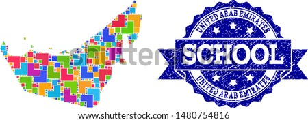Mosaic puzzle map of United Arab Emirates and grunge school seal stamp with ribbon. Vector map of United Arab Emirates constructed with colorful square and corner blocks.