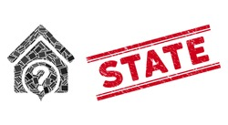 Mosaic realty state icon and red State seal stamp between double parallel lines. Flat vector realty state mosaic icon of random rotated rectangle elements. Red State stamp imprint with dirty texture.