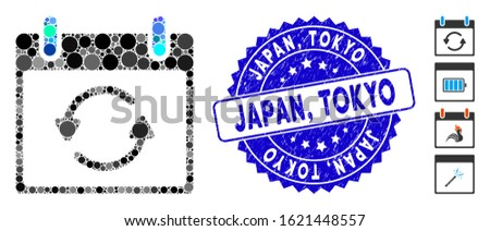 Mosaic refresh calendar day icon and grunge stamp seal with Japan, Tokyo caption. Mosaic vector is designed with refresh calendar day icon and with scattered round spots. Japan,