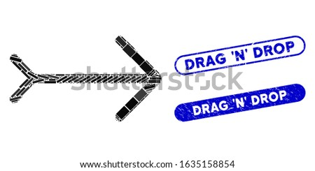Mosaic right direction and corroded stamp watermarks with Drag 'N' Drop text. Mosaic vector right direction is created with random rectangle items. Drag 'N' Drop stamp seals use blue color, Foto stock ©