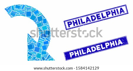 Mosaic rotate right icon and rectangular Philadelphia rubber prints. Flat vector rotate right mosaic icon of random rotated rectangle items. Blue Philadelphia rubber stamps with rubber textures.