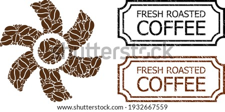 Mosaic rotor united from coffee seeds, and grunge Fresh Roasted Coffee rectangle stamps with notches. Vector coffee icons are united into abstract mosaic rotor icon with brown color. Foto d'archivio ©