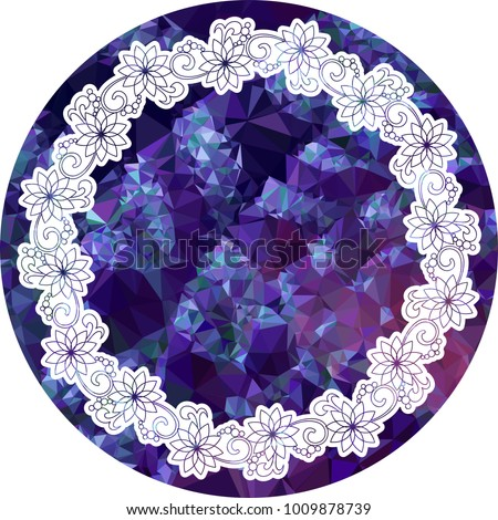 Mosaic round frame with abstract flowers silhouettes. Vector clip art