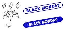 Mosaic sad rain umbrella and grunge stamp seals with Black Monday phrase. Mosaic vector sad rain umbrella is composed with scattered oval items. Black Monday stamp seals use blue color,