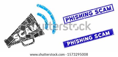 Mosaic scam alert megaphone pictogram and rectangular Phishing Scam seals. Flat vector scam alert megaphone mosaic pictogram of randomized rotated rectangular elements.