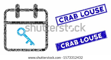 Mosaic security day icon and rectangle Crab Louse rubber prints. Flat vector security day mosaic icon of scattered rotated rectangle items. Blue Crab Louse rubber seals with corroded surface.