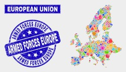 Mosaic service European Union map and Armed Forces Europe watermark. European Union map collage constructed with random bright equipment, palms, industrial symbols.