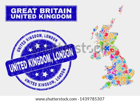 Mosaic service United Kingdom map and United Kingdom, London seal stamp. United Kingdom map collage made with random colorful equipment, hands, service items. Blue round United Kingdom,