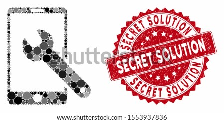 Mosaic smartphone setup wrench and grunge stamp watermark with Secret Solution caption. Mosaic vector is formed with smartphone setup wrench icon and with random spheric items.