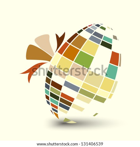 Mosaic style Easter egg tied with a ribbon. Retro colour scheme. EPS10 vector format.