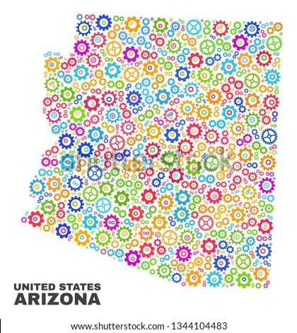 Mosaic technical Arizona State map isolated on a white background. Vector geographic abstraction in different colors. Mosaic of Arizona State map combined of scattered multi-colored cogwheel elements.