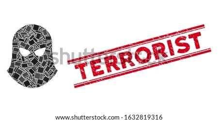 Mosaic terrorist balaklava pictogram and red Terrorist watermark between double parallel lines. Flat vector terrorist balaklava mosaic pictogram of scattered rotated rectangle items.