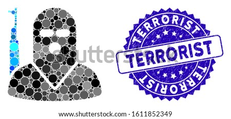 Mosaic terrorist icon and distressed stamp seal with Terrorist phrase. Mosaic vector is created with terrorist pictogram and with scattered circle spots. Terrorist stamp seal uses blue color,