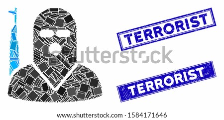 Mosaic terrorist icon and rectangular Terrorist rubber prints. Flat vector terrorist mosaic icon of randomized rotated rectangular items. Blue Terrorist rubber stamps with corroded textures.