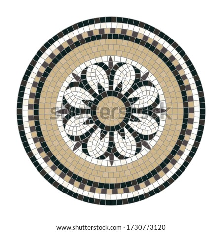 Mosaic tile decoration circle with central floral motif isolated on white background. Classic Roman mosaic.  Ideal for floor and wall decoration. Each element is isolated and edited. Vector 10 EPS. Photo stock ©