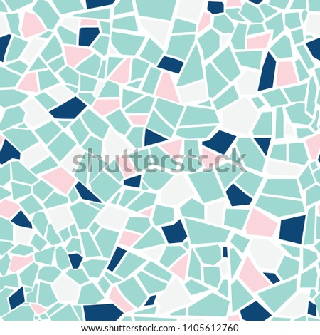 Mosaic tile seamless pattern. Vector pastel abstract background. For design and decorate backdrop. Endless texture. Ceramic fragments. Colorful broken tiles trencadis. Pink mint blue white colors art