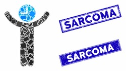 Mosaic time boss pictogram and rectangular Sarcoma watermarks. Flat vector time boss mosaic pictogram of random rotated rectangular items. Blue Sarcoma rubber seals with rubber textures.