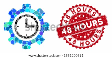Mosaic time setup gear and distressed stamp watermark with 48 Hours phrase. Mosaic vector is formed with time setup gear icon and with randomized spheric items. 48 Hours stamp uses red color,