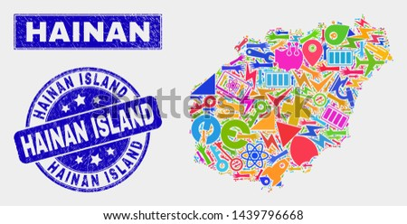 Mosaic tools Hainan map and Hainan Island seal. Hainan map collage designed with scattered colored tools, palms, service items. Blue rounded Hainan Island seal with distress texture.