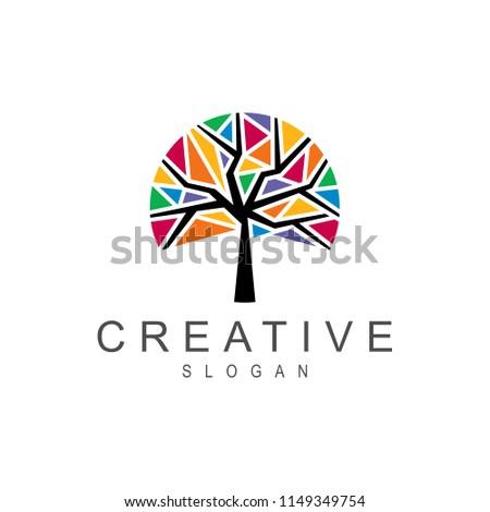 mosaic tree logo, colorful crystal tree logo