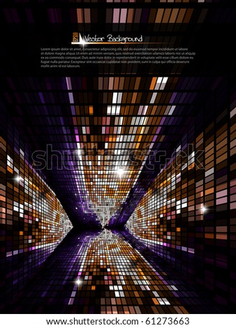 Mosaic tunnel, dark background. Vector illustration.