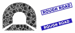 Mosaic tunnel icon and rectangular Rough Road seals. Flat vector tunnel mosaic icon of random rotated rectangular elements. Blue Rough Road rubber stamps with corroded surface.