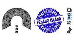 Mosaic tunnel icon and rubber stamp watermark with Penang Island phrase. Mosaic vector is designed with tunnel icon and with randomized round items. Penang Island stamp uses blue color,