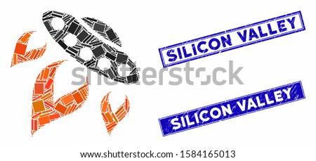Mosaic UFO start fire pictogram and rectangular Silicon Valley stamps. Flat vector UFO start fire mosaic pictogram of scattered rotated rectangle items.