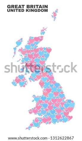 mosaic united kingdom map of