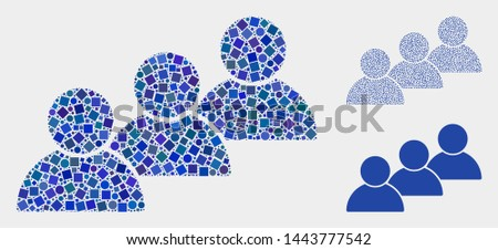 Mosaic User cohort icon united from spheric and square elements in various sizes, positions and proportions. Vector spheric and square elements are united into abstract shape user cohort icons. Сток-фото ©