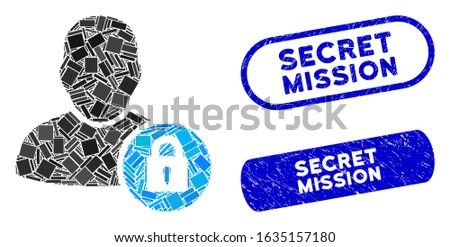 Mosaic user lock and distressed stamp seals with Secret Mission text. Mosaic vector user lock is composed with scattered rectangle items. Secret Mission stamp seals use blue color,