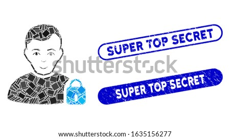 Mosaic user locked and distressed stamp watermarks with Super Top Secret text. Mosaic vector user locked is composed with random rectangle items. Super Top Secret stamp seals use blue color,