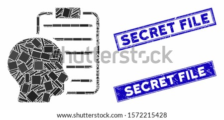 Mosaic user report page icon and rectangular Secret File stamps. Flat vector user report page mosaic icon of random rotated rectangular elements. Blue Secret File stamps with distress texture.