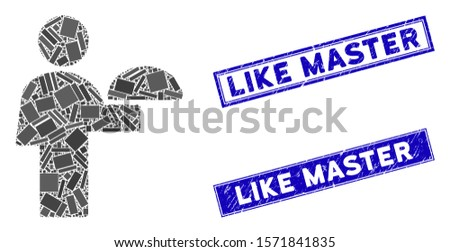 Mosaic waiter icon and rectangular Like Master seal stamps. Flat vector waiter mosaic icon of randomized rotated rectangular items. Blue Like Master watermarks with grunged texture.