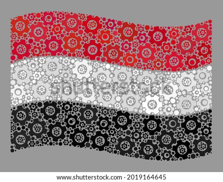 Mosaic waving Yemen flag designed with mechanical items. Vector gear collage waving Yemen flag designed for mechanical projects. Yemen flag collage is made of randomized gear items.
