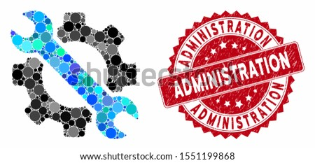 Mosaic wrench and gear setup tools and grunge stamp seal with Administration caption. Mosaic vector is formed with wrench and gear setup tools icon and with randomized circle items.