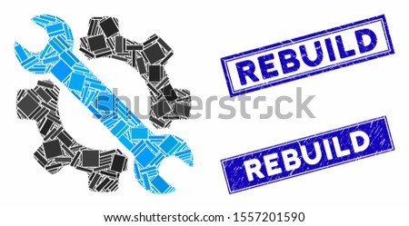 Mosaic wrench and gear setup tools pictogram and rectangle stamps. Flat vector wrench and gear setup tools mosaic pictogram of scattered rotated rectangle elements.
