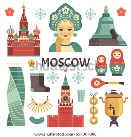 moscow icons set vector