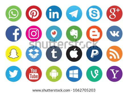 Stock Photo Moscow, Russia - July 5, 2017: Set of popular social media icons.